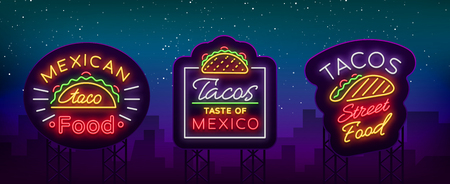Tacos set of neon-style logos. Collection of neon signs, symbols, bright billboard, nightly advertising of Mexican food Tako. Vector illustration for your projects, restaurant, cafe Ilustrace