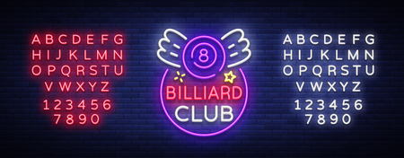 Pool bar logo in neon style. Neon sign design template for Billiard bar, club, beer and billiard light banner, night neon advertisement, design element. Vector illustration. Editing text neon sign