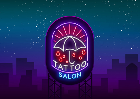 Tattoo salon logo in a neon style for  billboards Vector illustration.