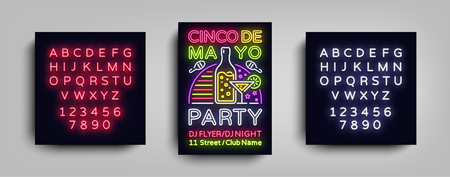 Cinco De Mayo Poster in neon style. Design Template Flyer invitation to celebrate Cinco de Mayo, banner light, typography Mexican Fiesta celebration party. Vector illustration. Editing text neon sign.  イラスト・ベクター素材
