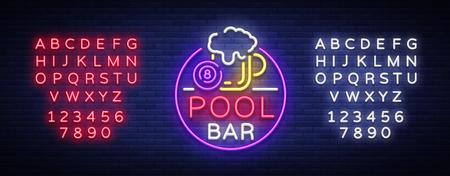 Logo del bar della piscina in stile neon. Modello di disegno al neon per banner da biliardo bar, club, birra e biliardo, pubblicità al neon di notte, elemento di design. Illustrazione vettoriale Modifica testo insegna al neon. Archivio Fotografico - 98718544