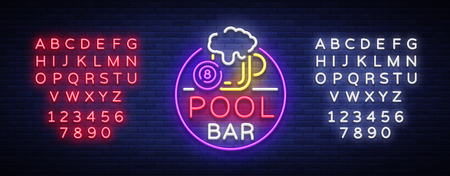 Pool bar logo in neon style. Neon sign design template for Billiard bar, club, beer and billiard light banner, night neon advertisement, design element. Vector illustration. Editing text neon sign.