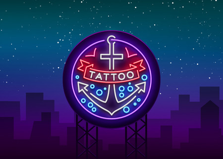 Tattoo salon logo in a neon style. Neon sign, emblem, anchor symbol with a ribbon, luminous billboard, neon advertising on a tattoo theme, for tattoo salon, studio. Vector illustration.