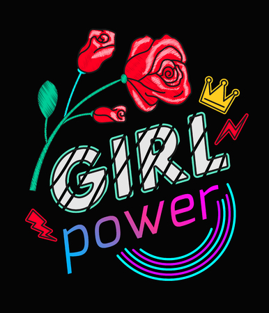 Girls Power Slogan Print Embroidery T-shirt. Feminist slogan, Rock print. Fashionable slogan with rose .