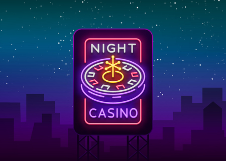 Night casino logo in neon style. Roulette Neon sign, bright luminous banner, night billboard, bright advertisement of casinos, gaming machines and gambling for your projects. Vector illustration Illustration