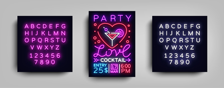 Cocktail party poster vector template. Love Cocktail party, Poster neon, Neon sign, Light banner, bright invitation, nightlife brochure, typography, postcard to Valentines day. Editing text neon sign.