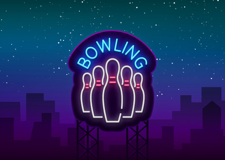 Bowling is a neon sign. Symbol emblem, Neon style logo, Luminous advertising banner, Night bright luminous billboard, Design template for the Bowling Club, Bowling Tournaments. Vector illustration.