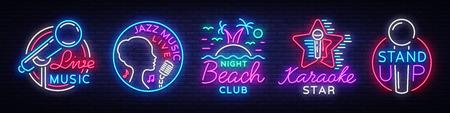 Stand up logos and emblems. Bright Symbols, Light Banner, Night Bright Advertising, Nightlife. Vector illustration