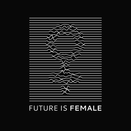 Fashion slogan Future is Female. Feminist slogan, roath lines, design t-shirt print or embroidery, patches. Typography, T-shirt for girls, womans symbol, poster, design template. Vector illustration. 矢量图像
