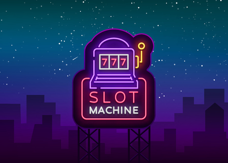 Slot machine logo in neon style. Neon sign, bright luminous banner, night billboard, bright nightly advertising of casinos, gaming machines and gambling for your projects. Vector illustration. Фото со стока - 99136584