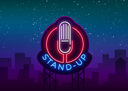 Stand Up Logo in Neon Style. Comedy show is neon sign, symbol, an invitation to a comedy performance, bright banner, neon poster, nightlit advertising for your projects. Vector illustration.