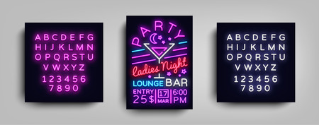 Cocktail Party poster neon. Flyer template design in neon style. Ladies Night Cocktail Party Dance Invitations, Light Banner, Bright Brochure Nightlife. Vector illustration. Editing text neon sign.