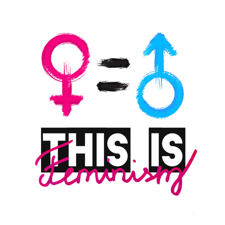 Fashion slogan This is Feminism. Feminist slogan, design t-shirt print or embroidery, patches. Typography, T-shirt for girls, womans symbol, poster, design template. Vector illustration.
