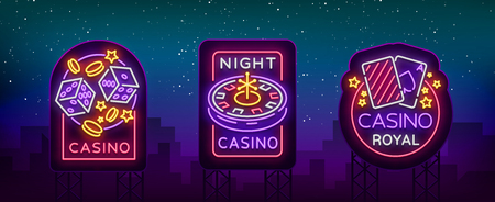 Casino is a set of neon signs. Illustration