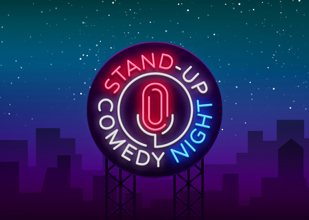 Stand Up Comedy Show is a neon sign. Neon logo, symbol, bright luminous banner.