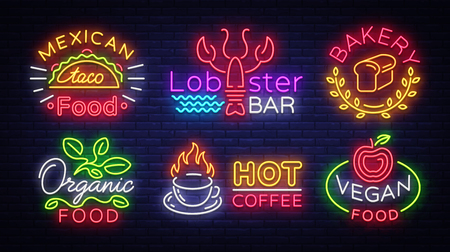 Big collection neon signs on theme food. Vector. Set bright food emblems, Neon food symbols, design template, Mexican food tacos, Lobster Bar, Bakery, Organic, Hot Coffee, Vegan.
