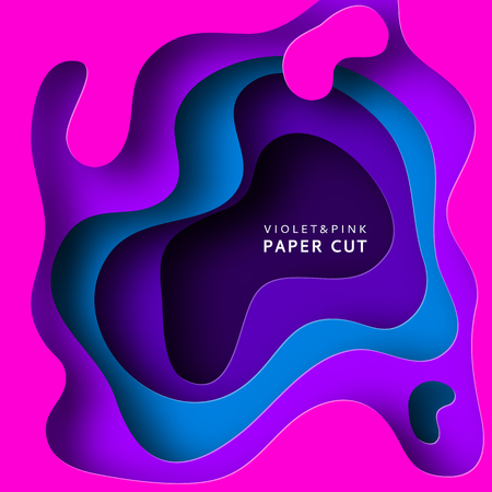 Paper cut vector background. Paper art is violet and blue colors. Square template with paper figures. Bright modern design for poster, flyer, poster, postcard