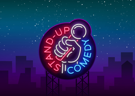 Comedy Show Stand Up invitation is a neon sign. Logo, Emblem Bright flyer, light poster, neon banner, brilliant night commercials advertisement, card, postcard. Vector illustration.