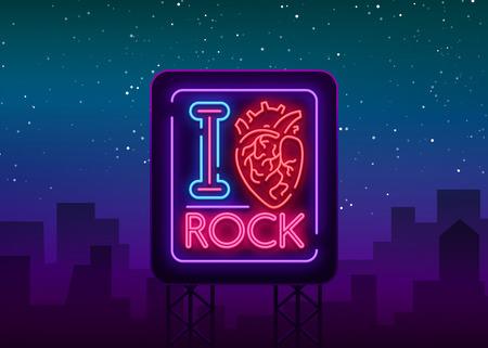 I love rock in Neon sign, bright banner illustration.