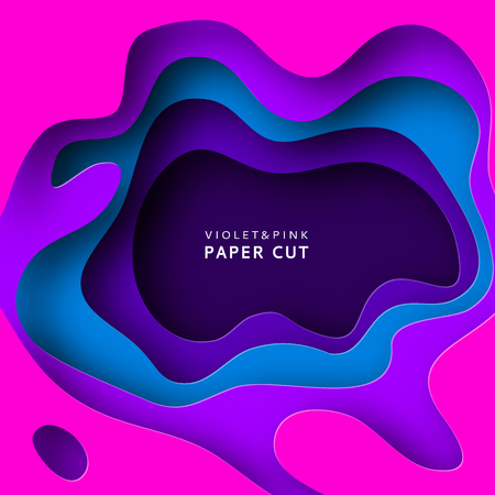 Paper cut abstract background with paper cut shapes. Template design layout for business presentations, flyers, posters, invitations. Paper art in violet and blue colors. Colorful carving art. Vector.