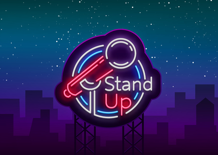 Stand Up Comedy Show is a neon sign. Neon logo, symbol, bright luminous banner, neon-style poster, bright night-time advertisement. Stand up show. Invitation to the Comedy Show. Vector.