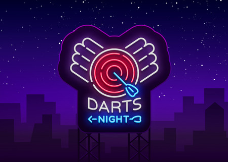 Darts neon sign. Vector illustration. Bright nightly Darts advertising, neon logo, symbol, lightweight banner, design template for your projects. Billboard.