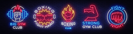 Collection neon signs for sports. Set neon logos emblems for Sports, design template symbols. 矢量图像