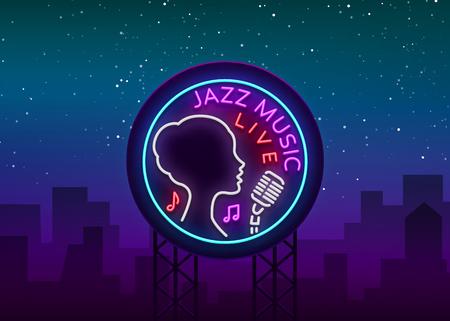 Jazz music icon on a neon style 일러스트