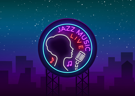Jazz music icon on a neon style Vectores
