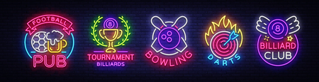 Logo collection in neon style. 免版税图像 - 99539568