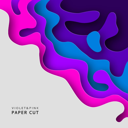 Paper art banner background in violet and blue colors. Carving paper background design element for your projects. Paper cut Vector illustration.