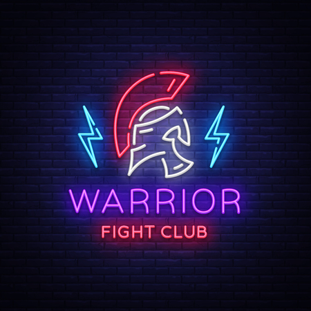 Fight Club neon sign. Warrior logo in neon style. Design template, sports logo, Spartan warrior. Night Fight, Martial Arts, MMA. Light banner, bright night neon advertisement. Vector illustration.
