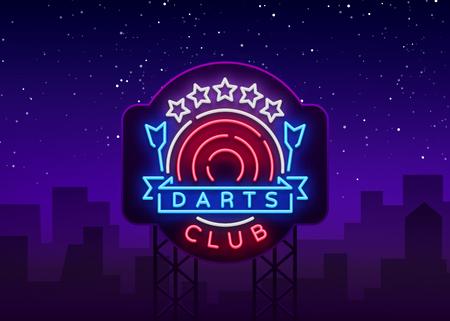 Darts Club Logo in Neon Style. Neon Sign, Bright Night Advertising, Light Banner. Vecton illustration. Billboard  イラスト・ベクター素材