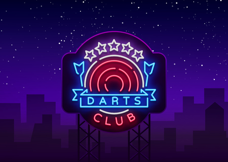 Darts Club Logo in Neon Style. Neon Sign, Bright Night Advertising, Light Banner. Vecton illustration. Billboard Illustration