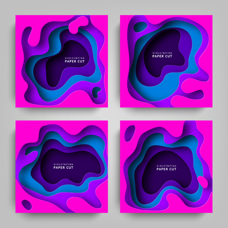 Collection Paper cut vector backgrounds. Paper art is violet and blue colors. Square template with paper figures. Bright modern design for poster, flyer, poster, postcard
