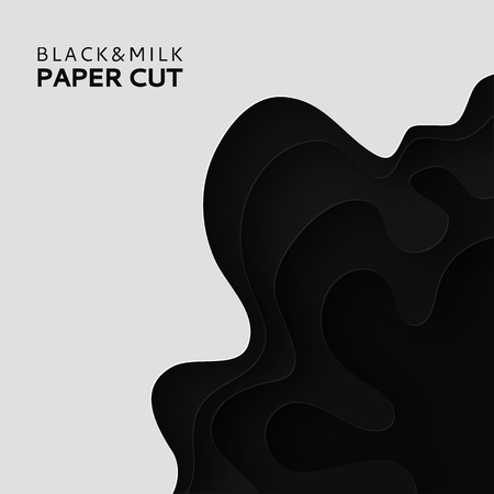 Paper cut background with milk. Abstract soft poster textured wavy layers. Black and white background. Imitation relief topography. Threading handicrafts. Cover design template. Vector illustration.