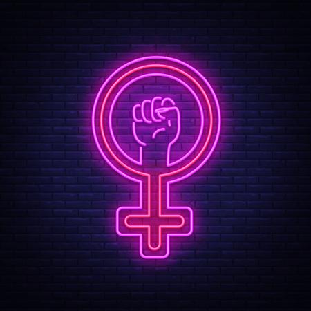 Female gender symbol neon sign icon