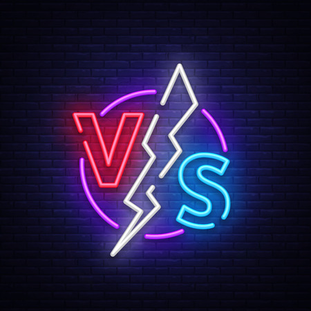 Versus neon sign vector. Versus logo, symbol in neon style. Design template light banner, night advertising. Battle vs match, game concept competitive vs.