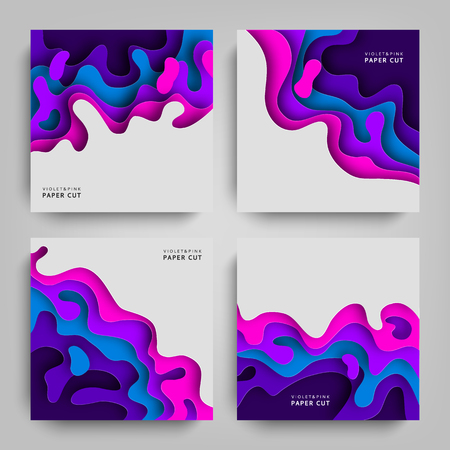 Paper cut collection abstracts backgrounds with paper cut shapes. Template design layout for business presentations, flyers, posters, invitations. Paper art in violet and blue colors. Vector.