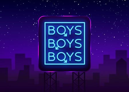 Boys neon sign. LGBT. Gay show Night sign for gay club. Adult show. Vector illustration. Billboard.