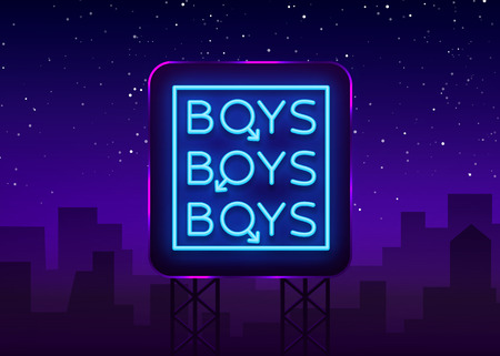 Boys neon sign. LGBT. Gay show Night sign for gay club. Adult show. Vector illustration. Billboard.