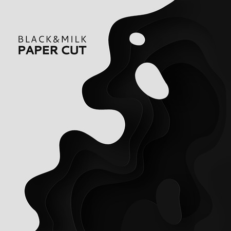 3D layers of paper cut the background of milk. Abstract paper carving art background design in black and white template site. Vector design layout for business presentations posters and invitations.