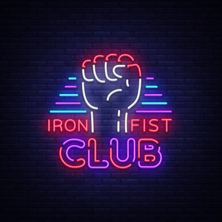 Fight Club icon in Neon Style. Iron fist club is a neon sign. Sports neon sign on night fighting, mixed fighting, MMA, combat training. Light banner, night bright advertising. Illustration