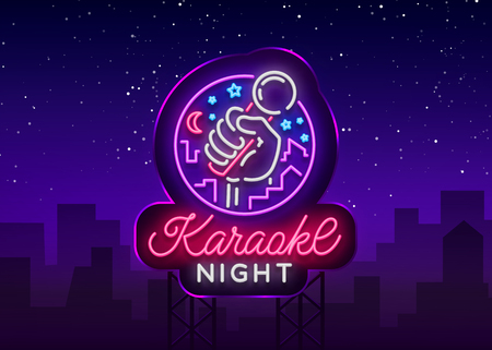 Karaoke night vector. Neon sign, luminous icon, symbol, light banner. Advertising bright night karaoke bar, party, disco bar, night club. Live music. Design template.