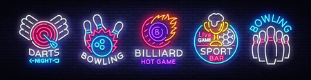 Big collection neon signs for Bowling, Darts, Billiards, Football Pub. Set Logos neon, light emblems signs and symbols, light banner, design elements, nightly vibrant advertising. Vector illustration.