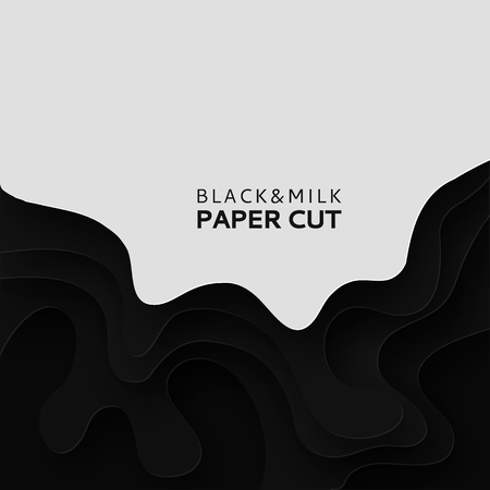 Paper cut background with milk. Abstract soft poster textured wavy layers. Black and white background. Imitation relief topography. Threading handicrafts. Cover design template. Vector illustration Çizim