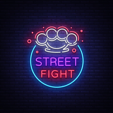 Street fight icon in neon style.