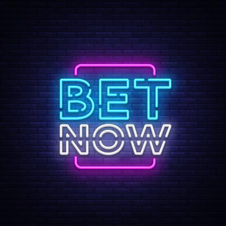 Wed nu Neon teken vector. Lichte banner, heldere nacht neon teken over het gokken, gokken. Stockfoto - 99968220