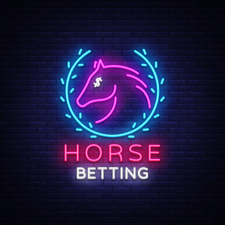 Horse Betting Neon Sign Vector. Horse Betting Logo in Neon Style, Design Template. Horse racing symbol, icon, emblem. Light banner, bright night advertising. Vector illustration
