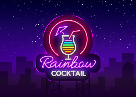 Cocktail logo in neon style. Rainbow Cocktail. Neon sign, Design template for drinks, alcoholic beverages. Light banner, Bright nightlight advertising for cocktail bar, party. Vector. Billboard Stok Fotoğraf - 100035103